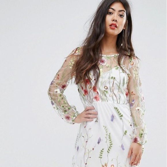 the cheapest professional sale cheapest price ASOS Floral Embroidery Mesh Dress